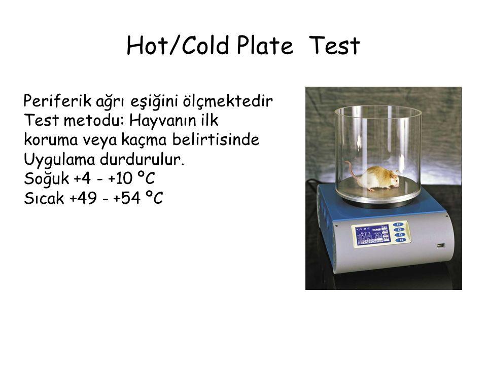 Hot/Cold Plate Test Periferik ağrı eşiğini ölçmektedir