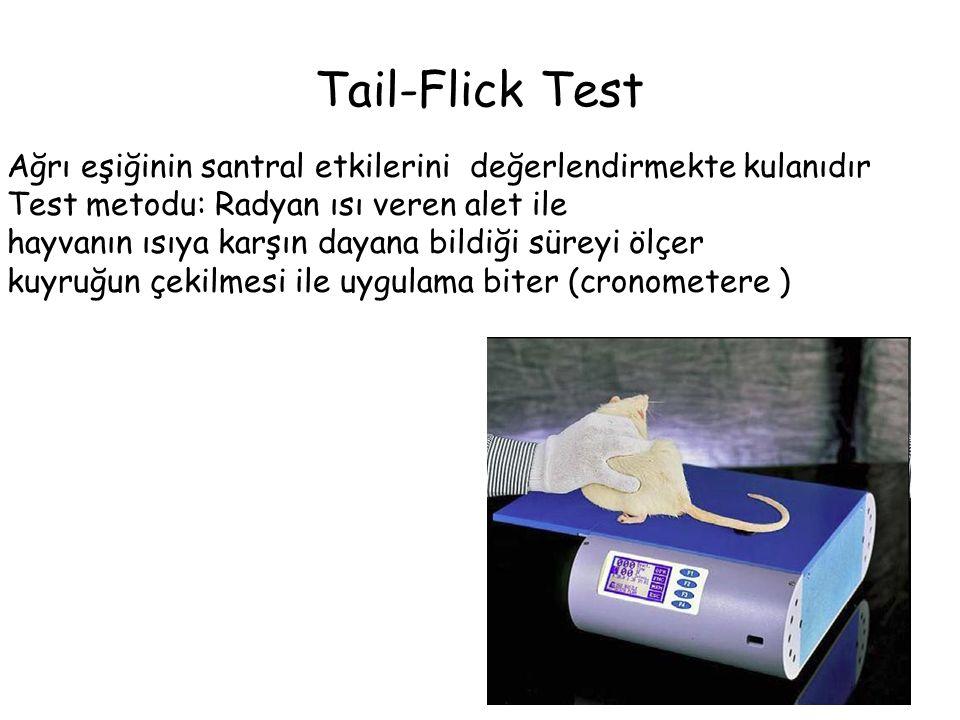 Tail-Flick Test Ağrı eşiğinin santral etkilerini değerlendirmekte kulanıdır. Test metodu: Radyan ısı veren alet ile.