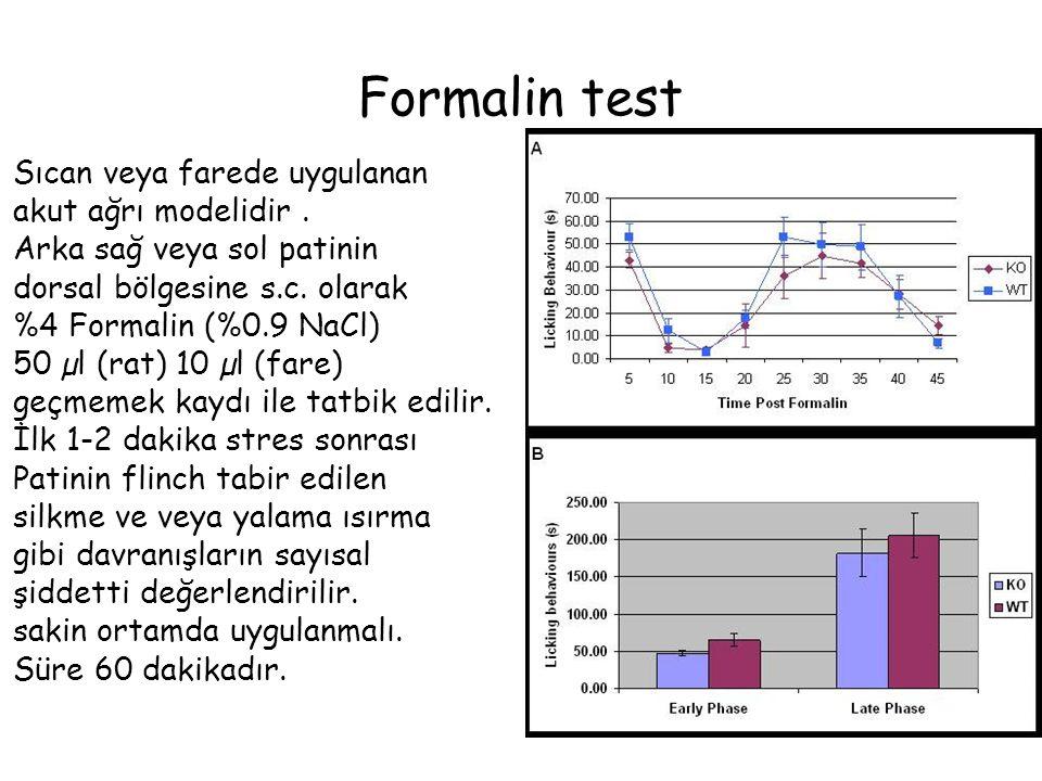 Formalin test Sıcan veya farede uygulanan akut ağrı modelidir .