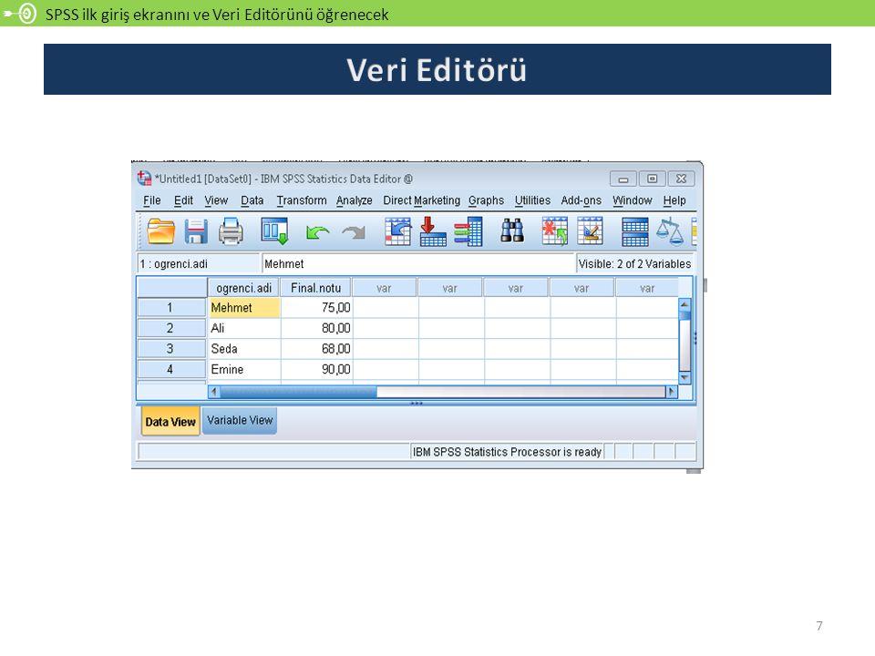 SPSS ilk giriş ekranını ve Veri Editörünü öğrenecek