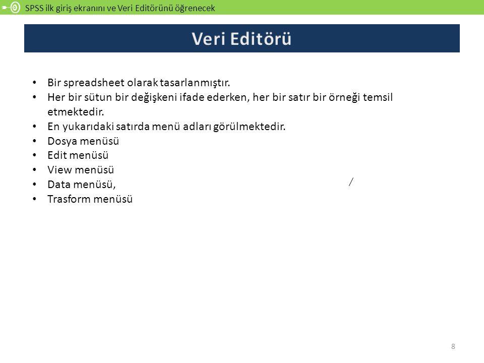 Veri Editörü Bir spreadsheet olarak tasarlanmıştır.