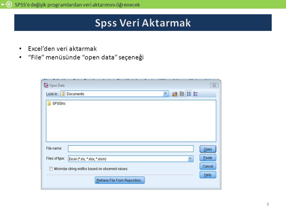 Spss Veri Aktarmak Excel'den veri aktarmak