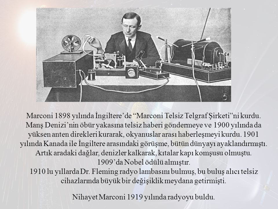 Marconi 1898 yılında İngiltere'de Marconi Telsiz Telgraf Şirketi ni kurdu.