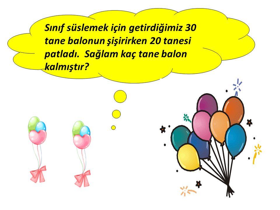 Sınıf süslemek için getirdiğimiz 30 tane balonun şişirirken 20 tanesi patladı. Sağlam kaç tane balon kalmıştır