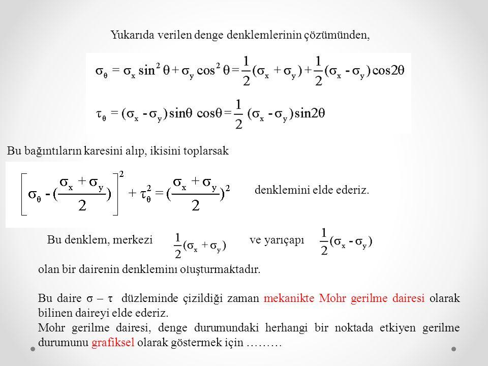 Yukarıda verilen denge denklemlerinin çözümünden,