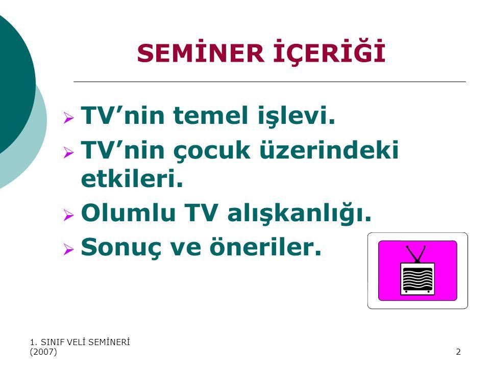 SEMİNER İÇERİĞİ TV'nin temel işlevi. TV'nin çocuk üzerindeki etkileri.