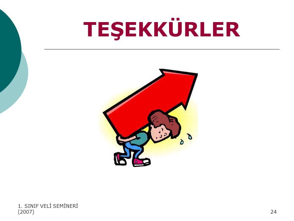 TEŞEKKÜRLER 1. SINIF VELİ SEMİNERİ (2007)