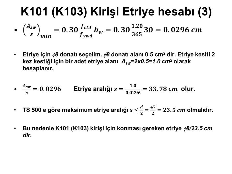 K101 (K103) Kirişi Etriye hesabı (3)