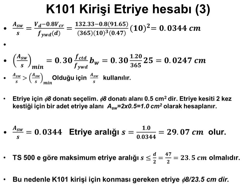 K101 Kirişi Etriye hesabı (3)