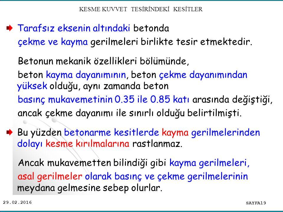 KESME KUVVET TESİRİNDEKİ KESİTLER