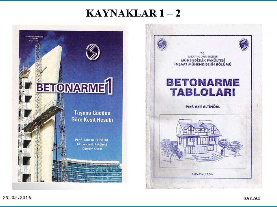 KAYNAKLAR 1 – 2 .