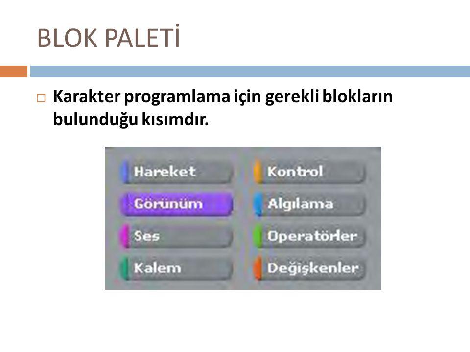 BLOK PALETİ Karakter programlama için gerekli blokların bulunduğu kısımdır.