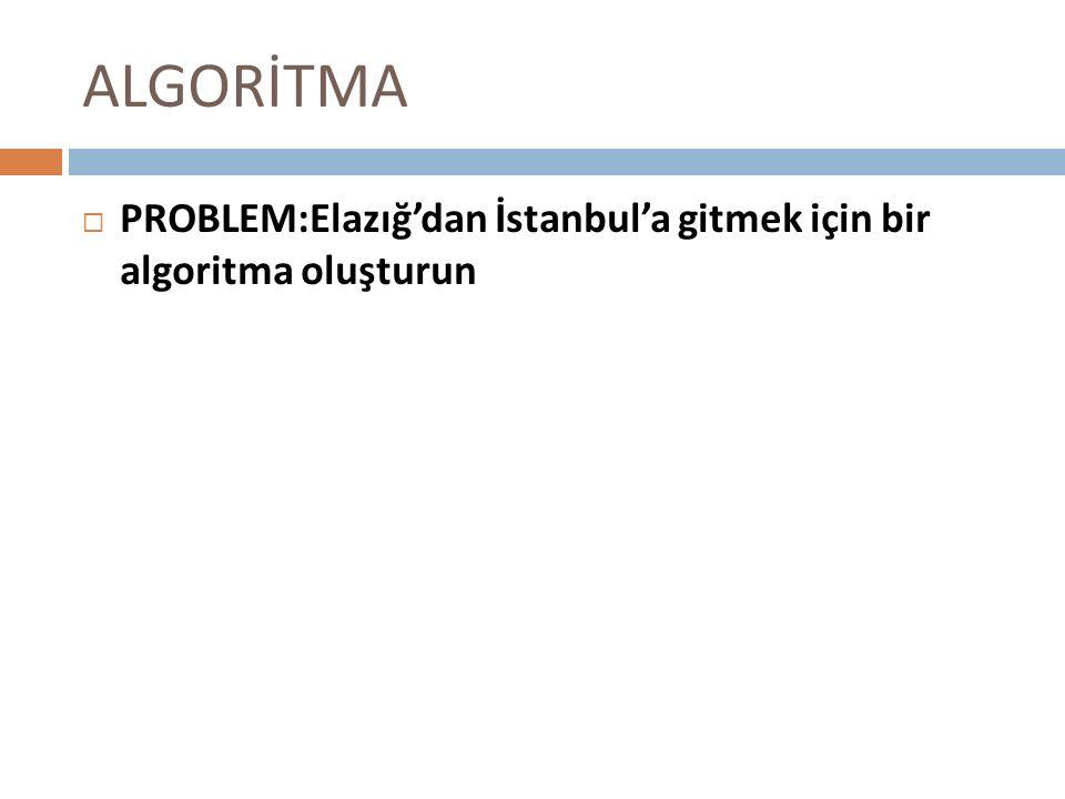 ALGORİTMA PROBLEM:Elazığ'dan İstanbul'a gitmek için bir algoritma oluşturun
