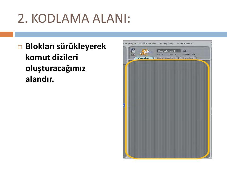 2. KODLAMA ALANI: Blokları sürükleyerek komut dizileri oluşturacağımız alandır.