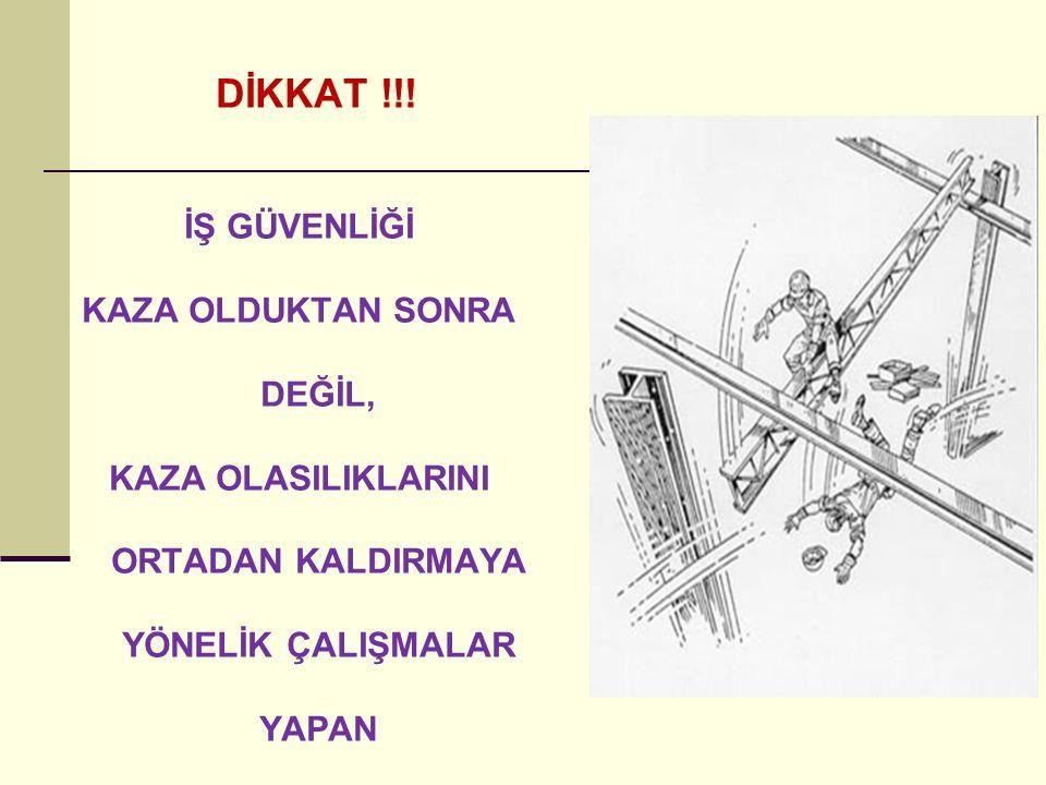 DİKKAT !!! İŞ GÜVENLİĞİ KAZA OLDUKTAN SONRA DEĞİL,