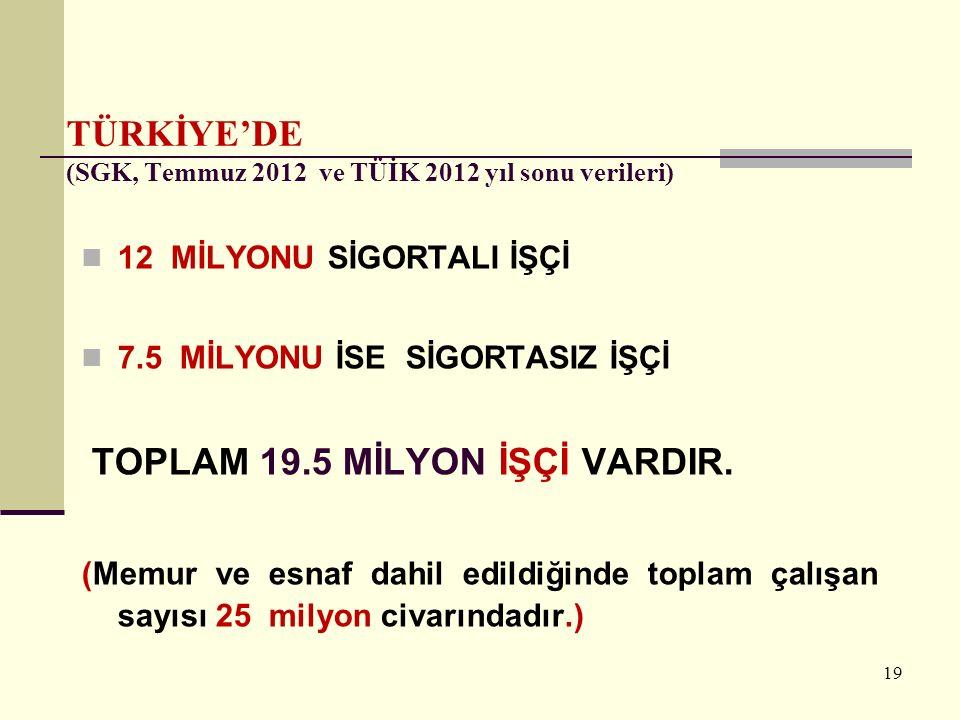 TÜRKİYE'DE (SGK, Temmuz 2012 ve TÜİK 2012 yıl sonu verileri)