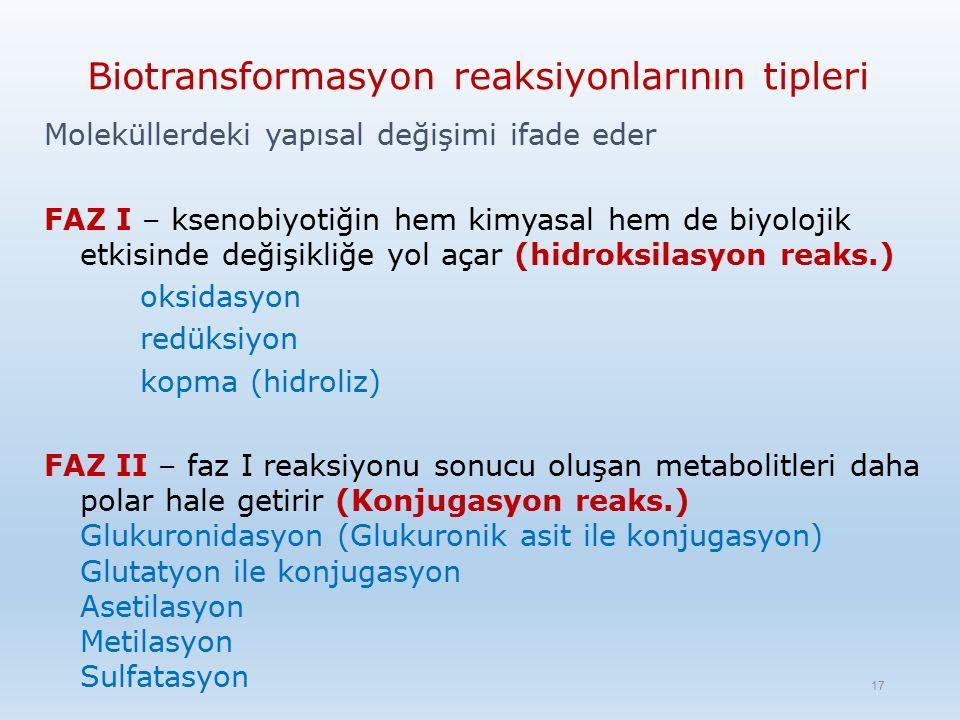 Biotransformasyon reaksiyonlarının tipleri