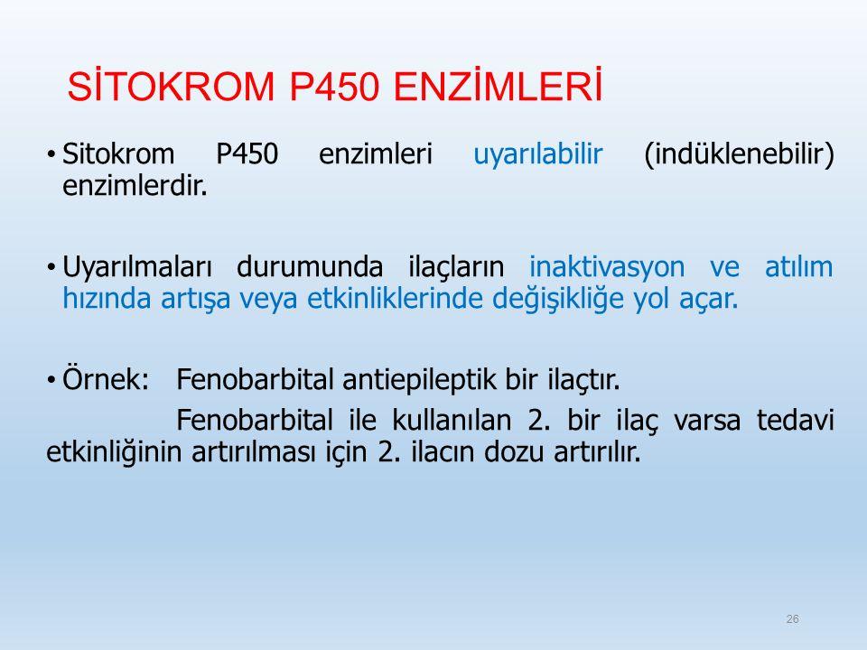 SİTOKROM P450 ENZİMLERİ Sitokrom P450 enzimleri uyarılabilir (indüklenebilir) enzimlerdir.