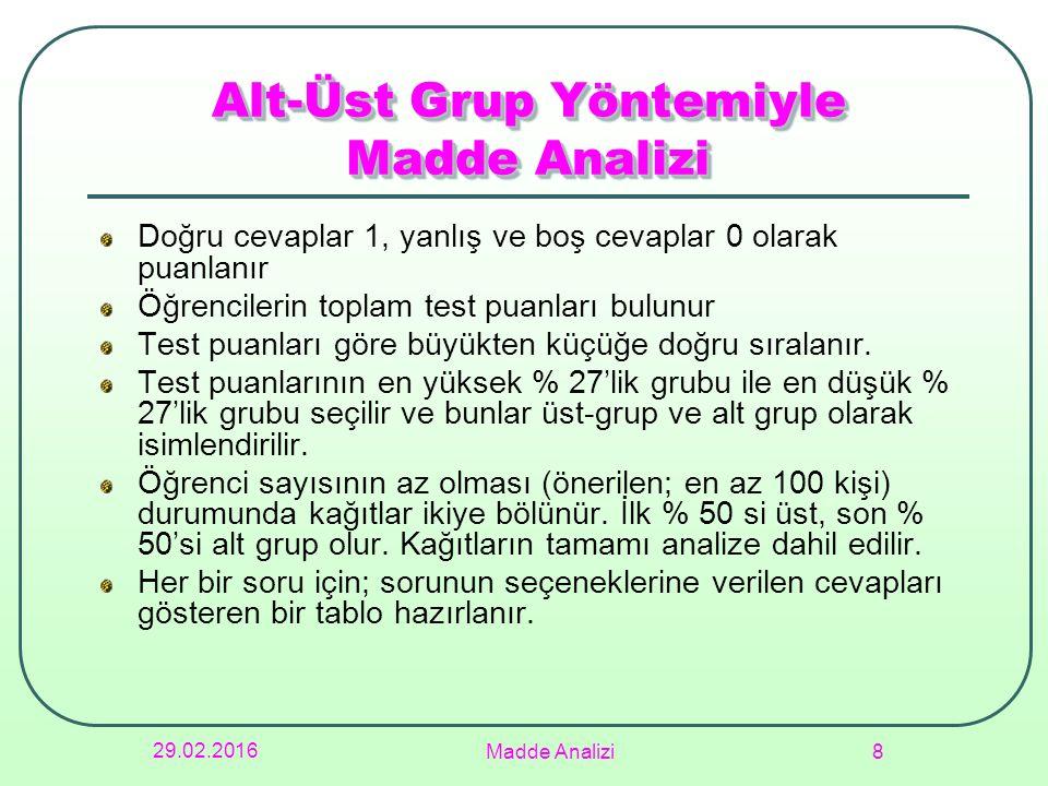 Alt-Üst Grup Yöntemiyle Madde Analizi