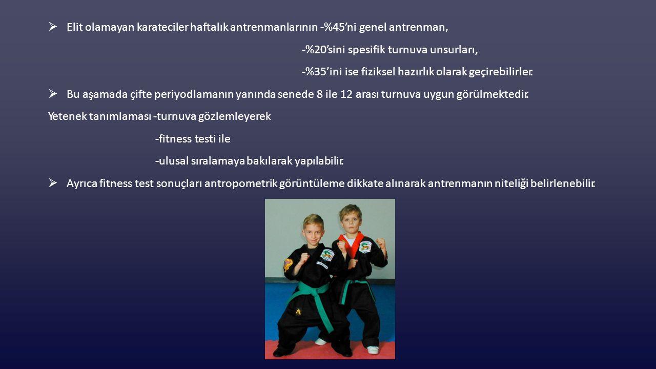 Elit olamayan karateciler haftalık antrenmanlarının -%45'ni genel antrenman,