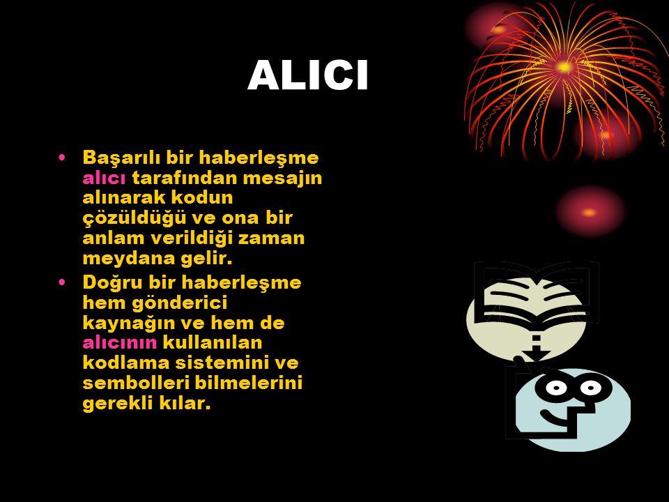 ALICI Başarılı bir haberleşme alıcı tarafından mesajın alınarak kodun çözüldüğü ve ona bir anlam verildiği zaman meydana gelir.