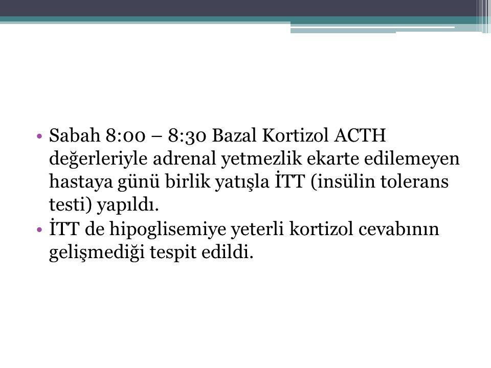 Sabah 8:00 – 8:30 Bazal Kortizol ACTH değerleriyle adrenal yetmezlik ekarte edilemeyen hastaya günü birlik yatışla İTT (insülin tolerans testi) yapıldı.