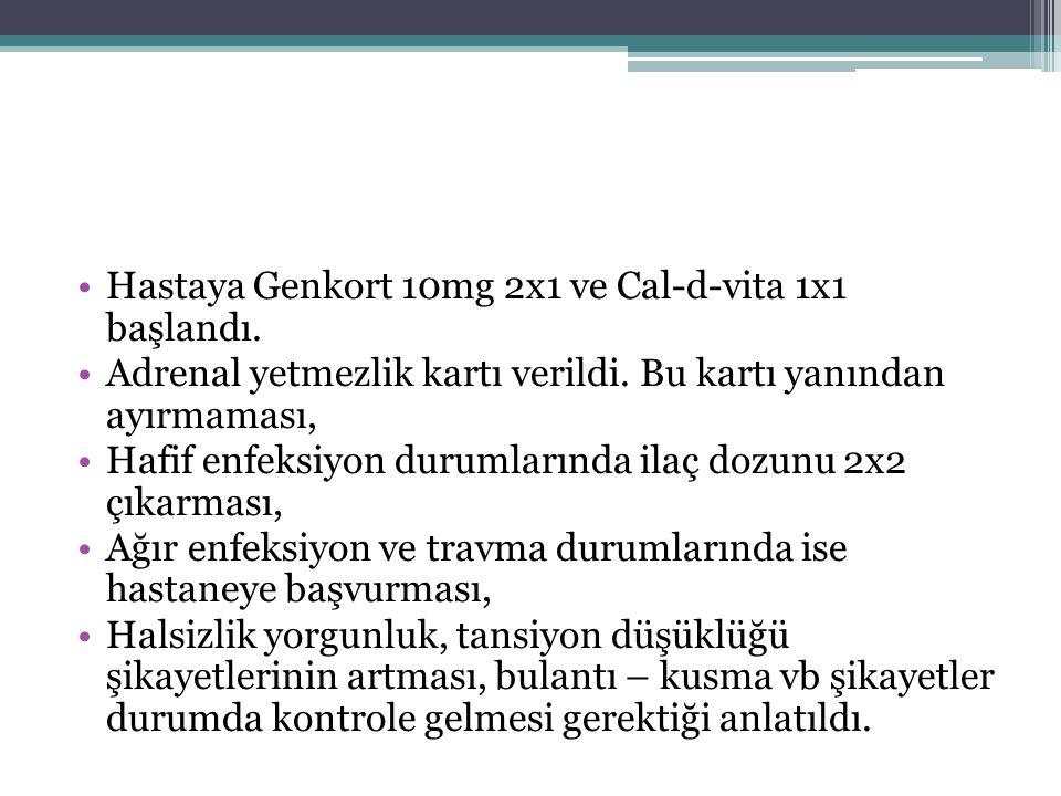 Hastaya Genkort 10mg 2x1 ve Cal-d-vita 1x1 başlandı.