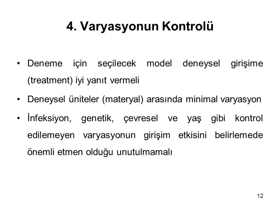 4. Varyasyonun Kontrolü Deneme için seçilecek model deneysel girişime (treatment) iyi yanıt vermeli.