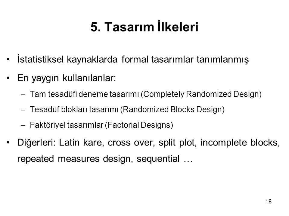 5. Tasarım İlkeleri İstatistiksel kaynaklarda formal tasarımlar tanımlanmış. En yaygın kullanılanlar: