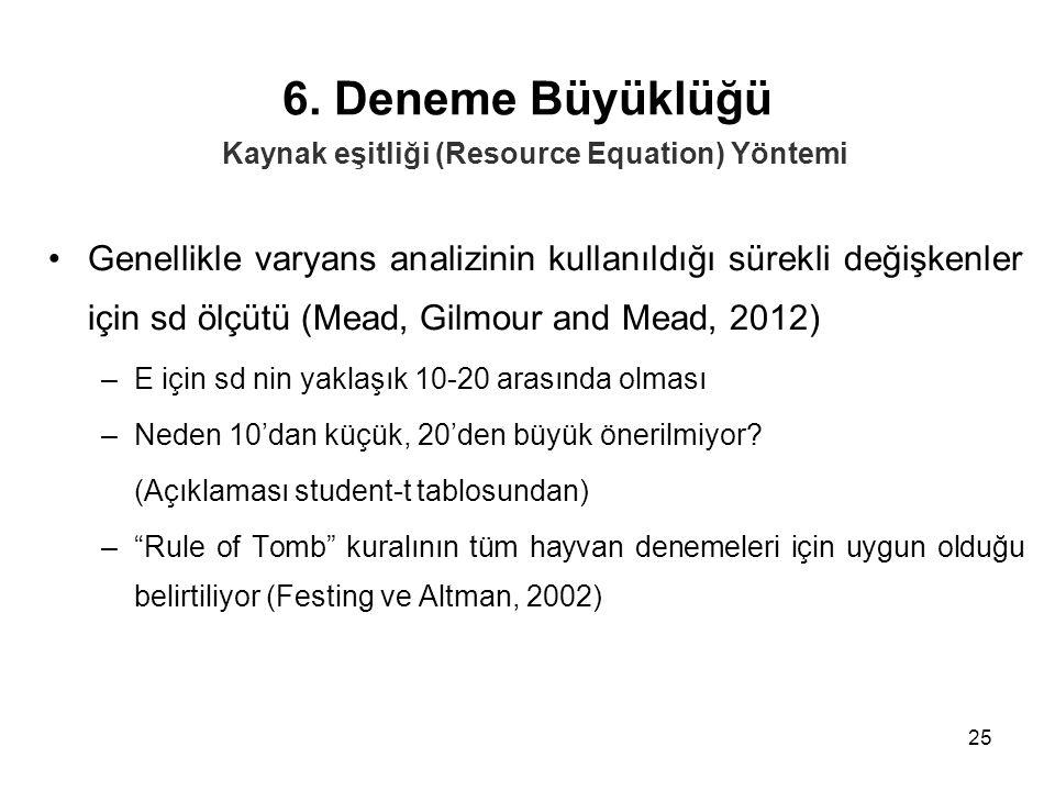6. Deneme Büyüklüğü Kaynak eşitliği (Resource Equation) Yöntemi.
