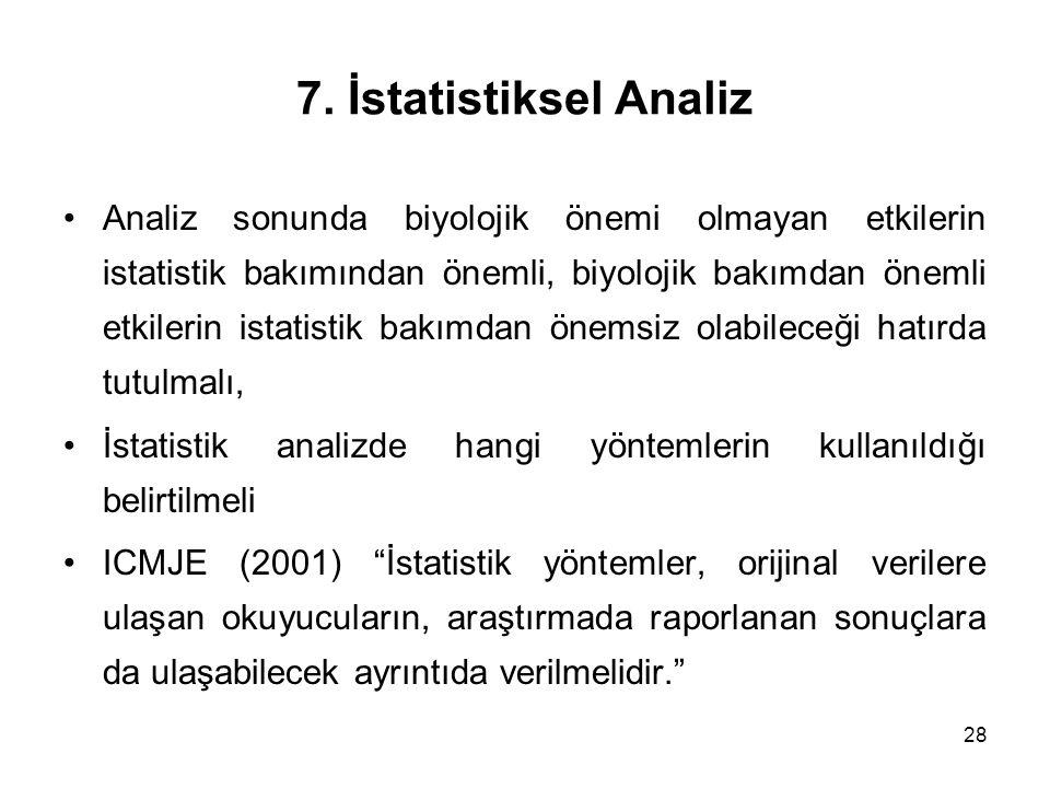 7. İstatistiksel Analiz
