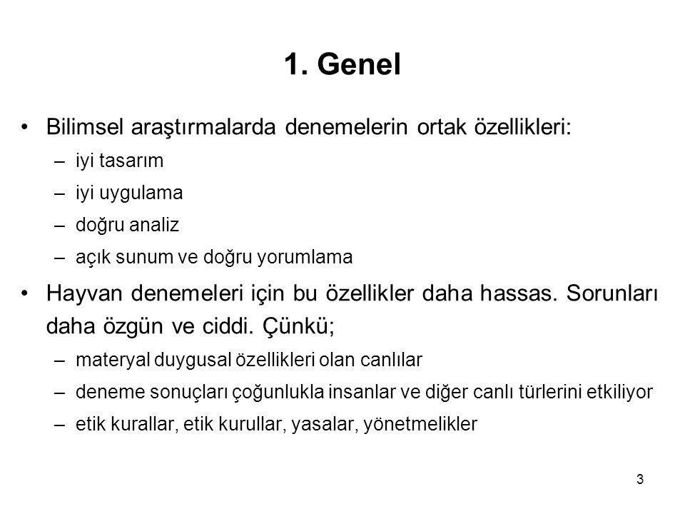1. Genel Bilimsel araştırmalarda denemelerin ortak özellikleri: