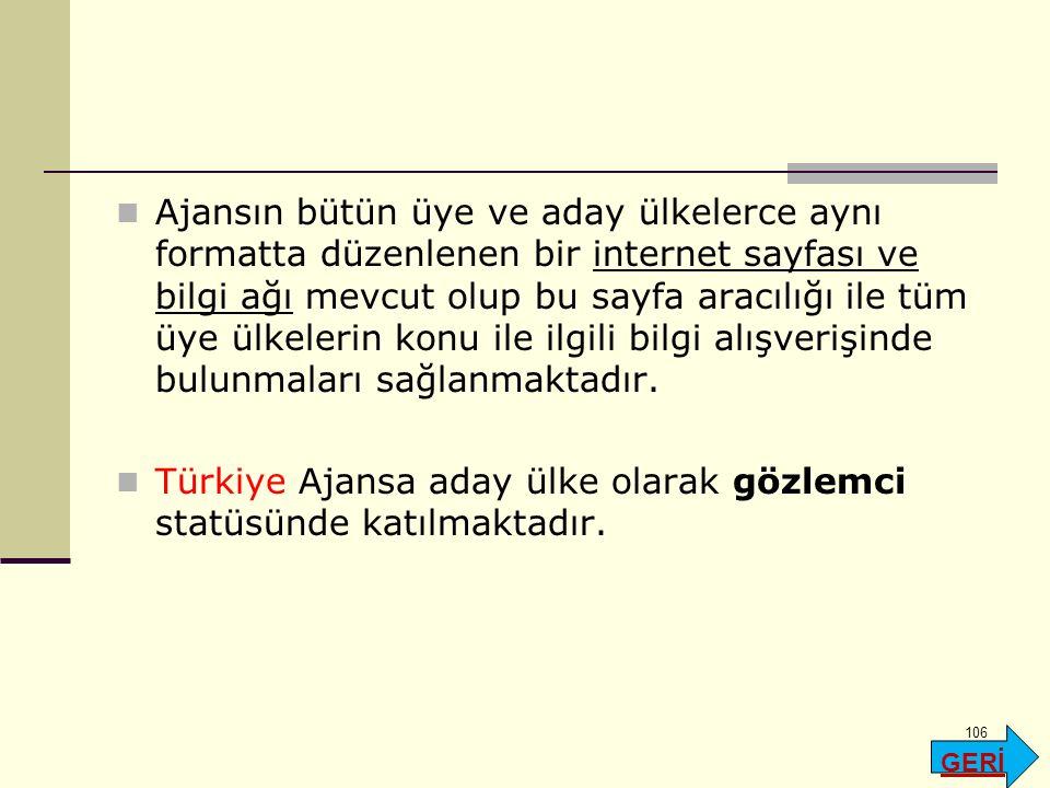 Türkiye Ajansa aday ülke olarak gözlemci statüsünde katılmaktadır.