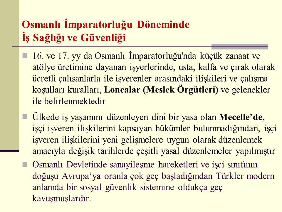 Osmanlı İmparatorluğu Döneminde İş Sağlığı ve Güvenliği