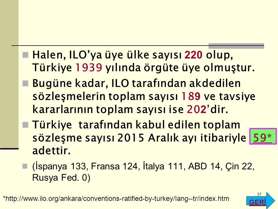 Halen, ILO'ya üye ülke sayısı 220 olup, Türkiye 1939 yılında örgüte üye olmuştur.