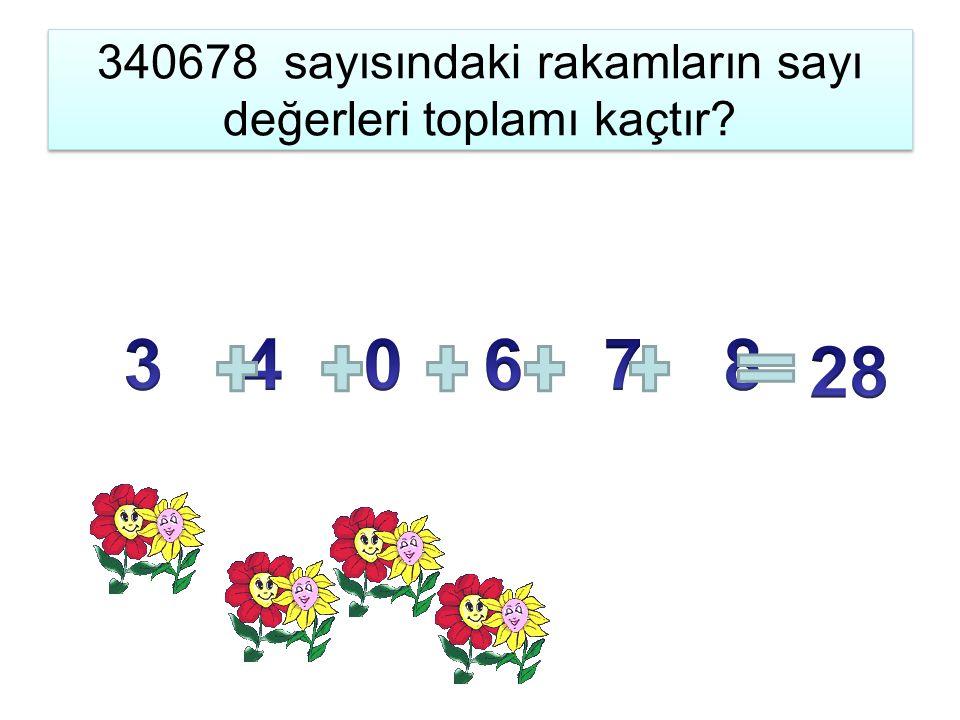 340678 sayısındaki rakamların sayı değerleri toplamı kaçtır