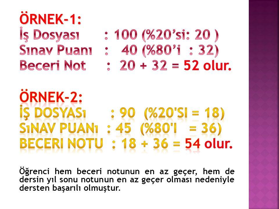 ÖRNEK-2: ÖRNEK-1: İş Dosyası : 100 (%20'si: 20 )