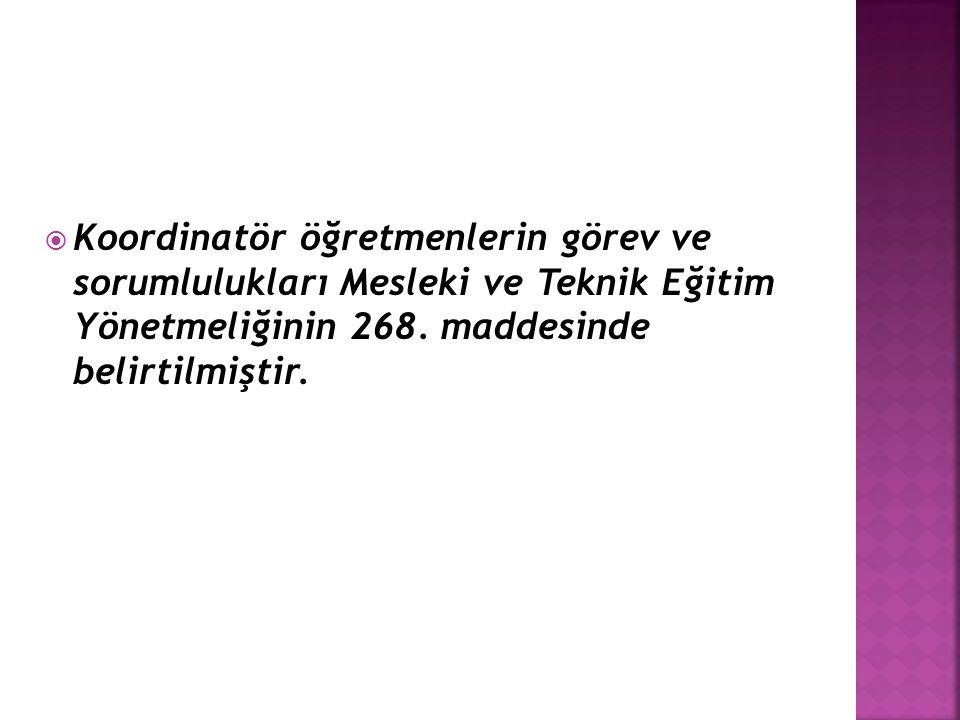 Koordinatör öğretmenlerin görev ve sorumlulukları Mesleki ve Teknik Eğitim Yönetmeliğinin 268.