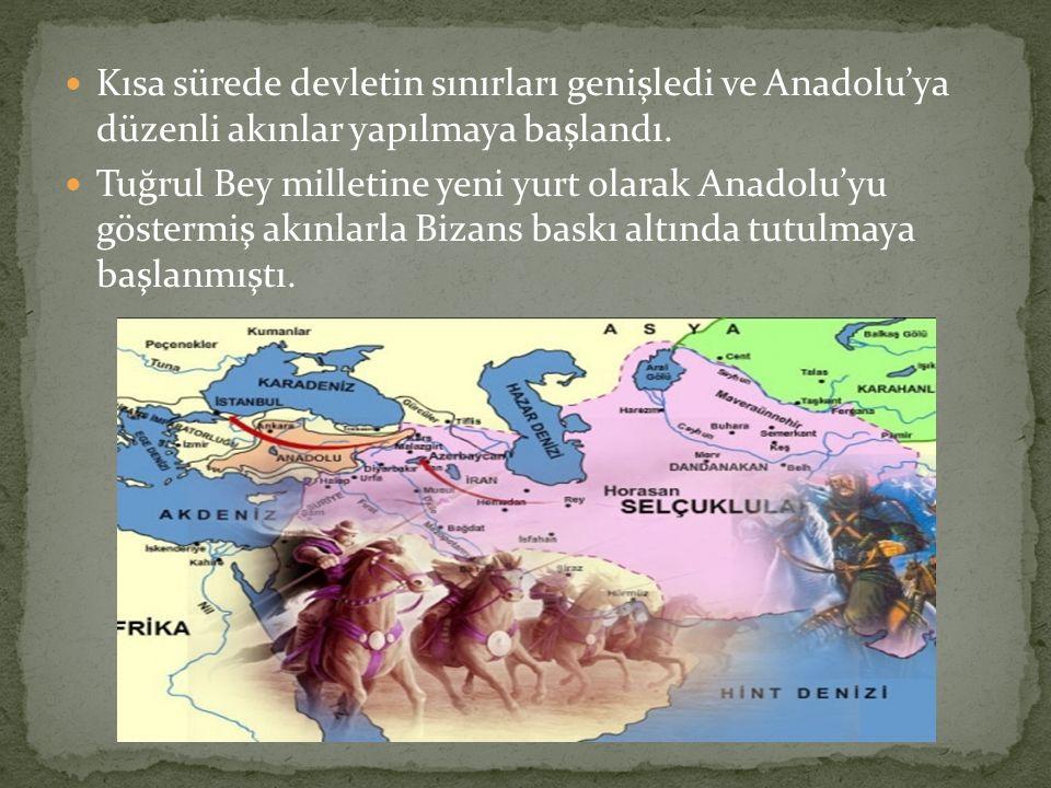 Kısa sürede devletin sınırları genişledi ve Anadolu'ya düzenli akınlar yapılmaya başlandı.