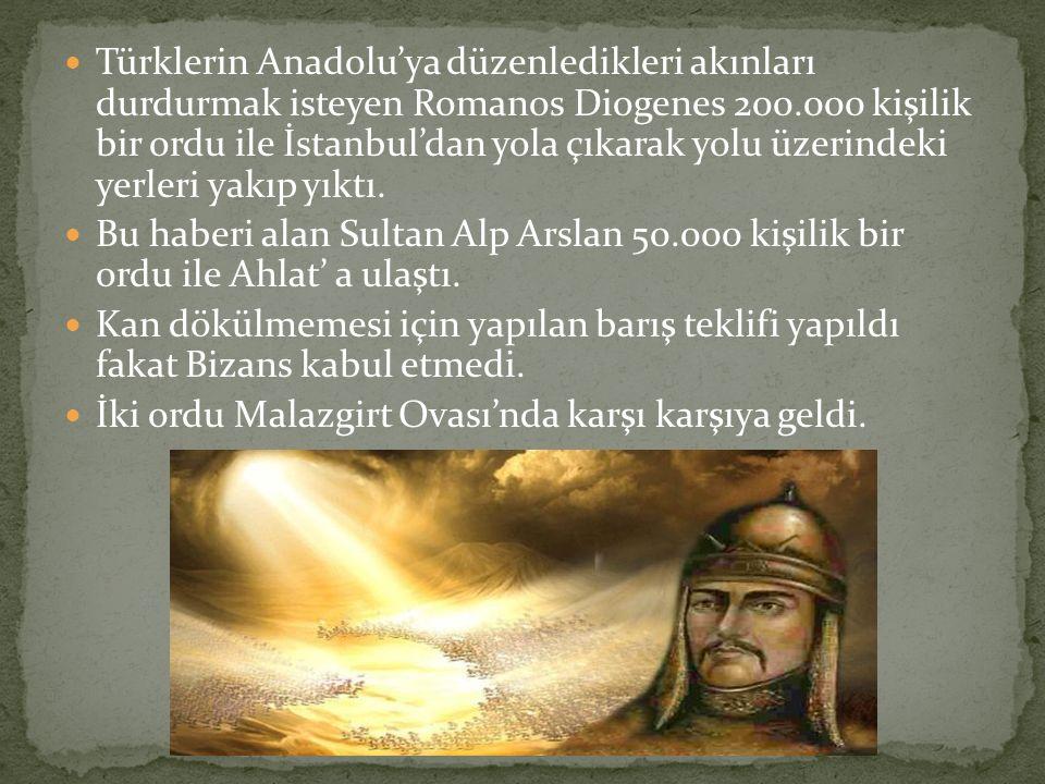 Türklerin Anadolu'ya düzenledikleri akınları durdurmak isteyen Romanos Diogenes 200.000 kişilik bir ordu ile İstanbul'dan yola çıkarak yolu üzerindeki yerleri yakıp yıktı.