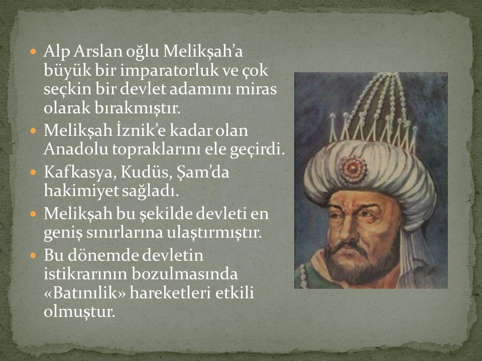 Alp Arslan oğlu Melikşah'a büyük bir imparatorluk ve çok seçkin bir devlet adamını miras olarak bırakmıştır.