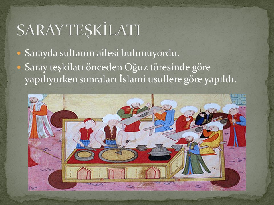 SARAY TEŞKİLATI Sarayda sultanın ailesi bulunuyordu.