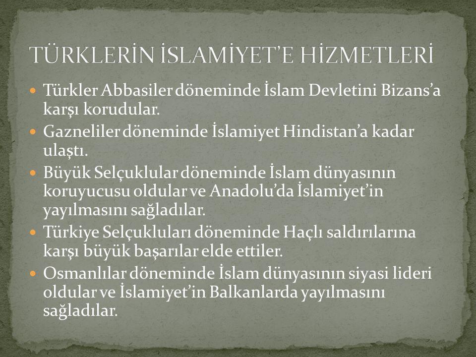 TÜRKLERİN İSLAMİYET'E HİZMETLERİ
