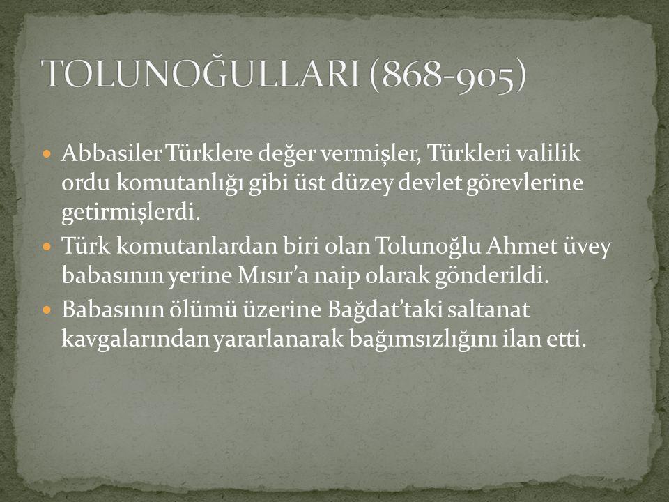 TOLUNOĞULLARI (868-905) Abbasiler Türklere değer vermişler, Türkleri valilik ordu komutanlığı gibi üst düzey devlet görevlerine getirmişlerdi.