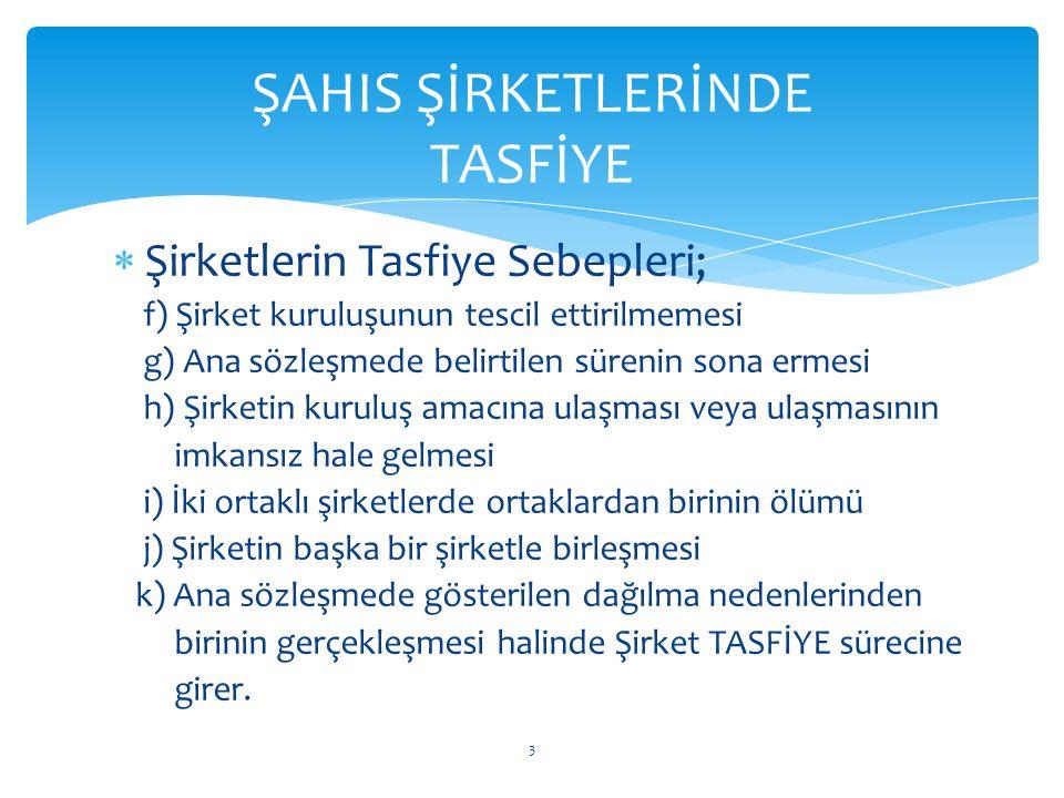 ŞAHIS ŞİRKETLERİNDE TASFİYE