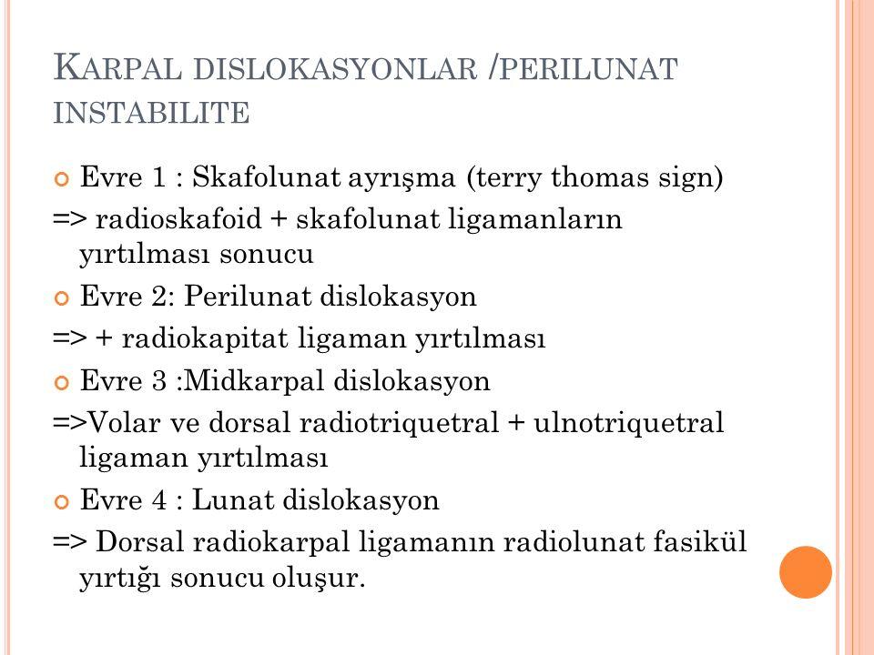 Karpal dislokasyonlar /perilunat instabilite