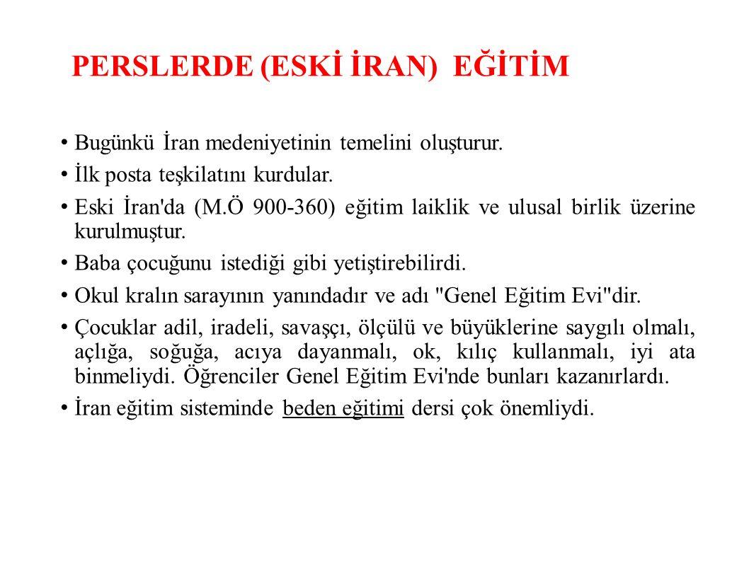 PERSLERDE (ESKİ İRAN) EĞİTİM