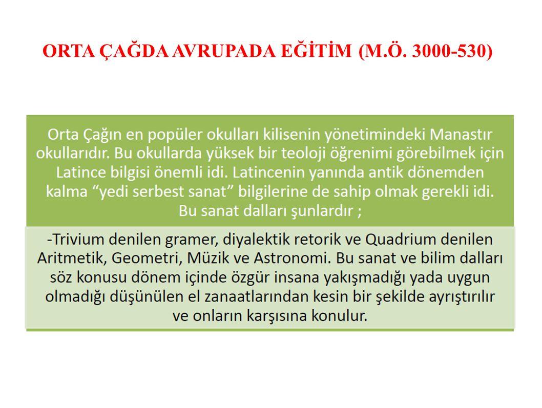 ORTA ÇAĞDA AVRUPADA EĞİTİM (M.Ö. 3000-530)
