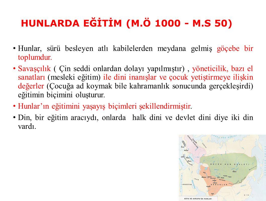 HUNLARDA EĞİTİM (M.Ö 1000 - M.S 50)