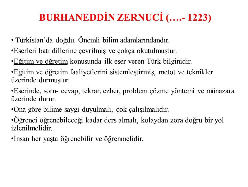 BURHANEDDİN ZERNUCİ (….- 1223)